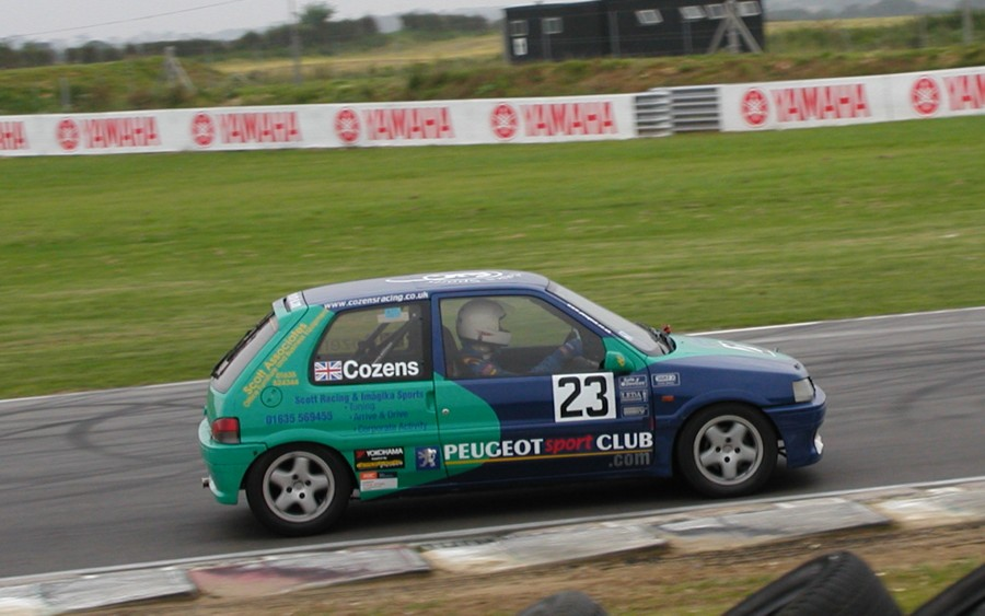 Charles Cozens in the SRIS racing Peugeot 106 XSi at Brands Hatch